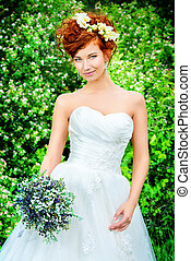 brilliance - Beautiful smiling bride with chaming red hair....
