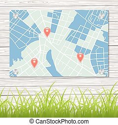 Street map on wool wall. Vector illustration.