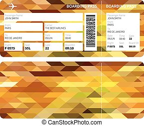 Gold boarding pass - Airline boarding pass ticket for...