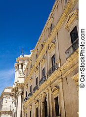 Part of Piazza del Duomo, Syracuse, Sicily, Italy