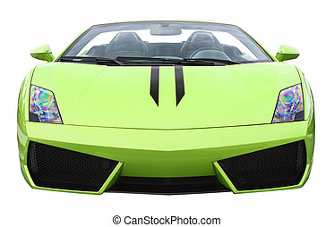 Closeup of Luxury Green Supercar Isolated Over Pure White...
