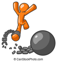 Orange Man Escape from Ball and Chain - An orange man...