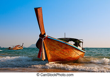 Traditional longtail wooden boat at Andaman sea