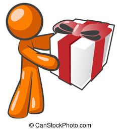 Orange Man Offering Present - An orange man offering a...