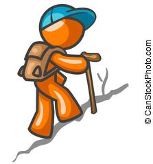 Orange Man Hiking - An orange man hiking up a trail for a...