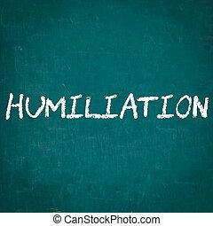 HUMILIATION written on chalkboard