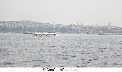 Panorama of Istanbul city and Bosfor on November 10, 2012...