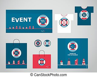 Orno-gird - Vector templates for any events in marine style