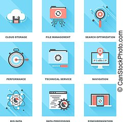 Data Management - Vector set of flat data management icons...