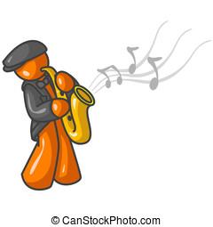 Orange Man Saxophone - An orange man playing the saxaphone...