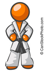 Orange Man Karate Pose