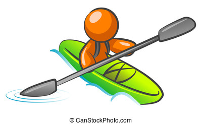 Orange Man Kayaking - An orange man kayaking in the water.