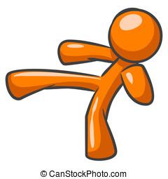 naranja, hombre, karate, patada