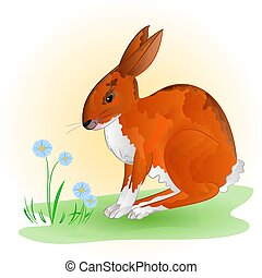 Cheerful spring bunny vector.eps