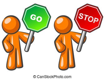 Orange Man Stop and Go - Two orange men holding Stop and Go...