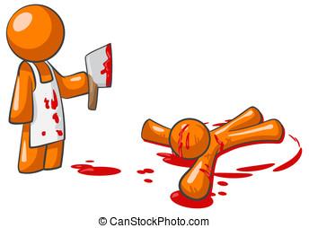 laranja, homem, açougueiro, assassino