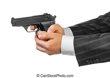 Male hands with gun isolated on white background