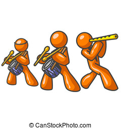 Orange Men Music Trio - Three Orange Men performing music.