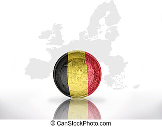 euro coin with belgian flag on the european union map...
