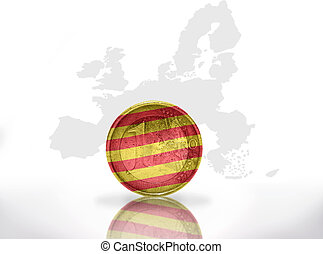 euro coin with catalonia flag on the european union map...