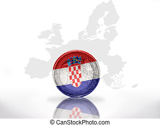 euro coin with croatian flag on the european union map...