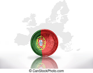 euro coin with portuguese flag on the european union map...