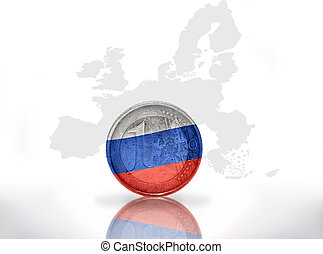 euro coin with russian flag on the european union map...