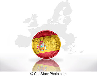 euro coin with spanish flag on the european union map...