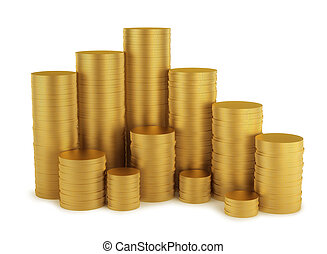 Shiny golden coins stack isolated on white background