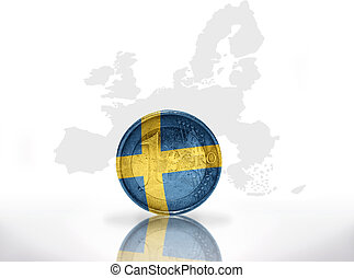 euro coin with swedish flag on the european union map...