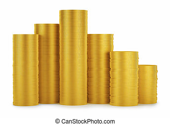 Golden coins stack isolated on white background