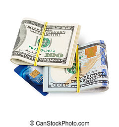 Dollar bills and credit card - Dollar bills folded and tied...