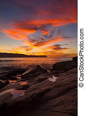 Sunset on ocean beach