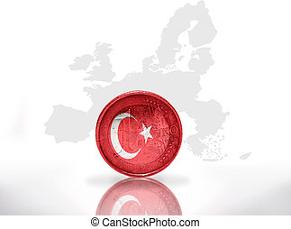 euro coin with turkish flag on the european union map...