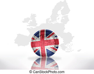 euro coin with british flag on the european union map...