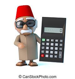 3D, marocain, a, a, calculatrice,