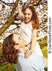 Blueten Young couple romantic under the cherry tree