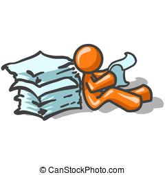 Orange Man Printed Materials - An orange man sitting back...