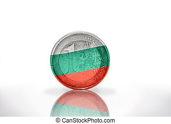 euro coin with bulgarian flag on the white background