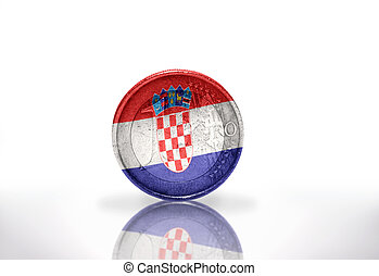 euro coin with croatian flag on the white background
