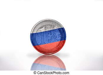 euro coin with russian flag on the white background