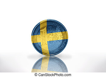 euro coin with swedish flag on the white background
