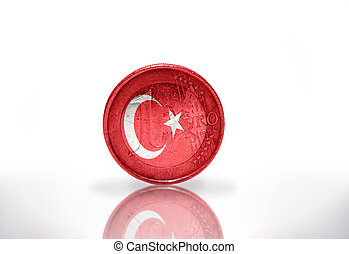 euro coin with turkish flag on the white background