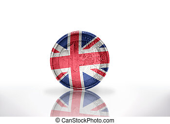 euro coin with british flag on the white background