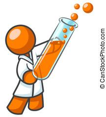 naranja, prueba, tubo, científico, hombre
