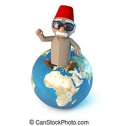 La terre,  Globe, assied, marocain,  3D