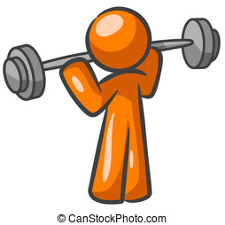 Orange Man Weightlifter
