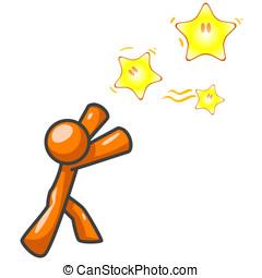 Orange Man Reaching for Stars - An orange man reaching for...