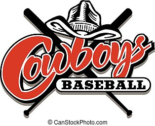 cowboys baseball with crossed bats and hat