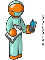 Orange Man Surgeon holding Cell Phone - An orange man...